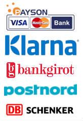 Betala med Visa, Mastercard, Swedbank Direktbetalning, F�rskott till Bankgiro eller Faktura. Leverans med Posten.