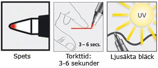 Staedtler Lumocolor permanent special märkpenna har en torktid på 3-6 sekunder och ljusäkta bläck.